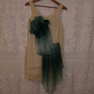 Dress with green ombre sash